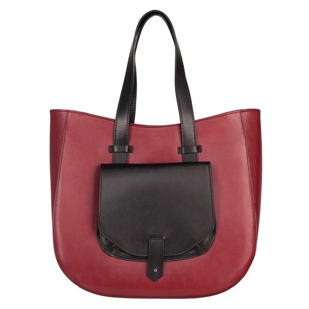 Włoska skórzana torebka typu shopper bag A4 bordowa+czarny (4844)