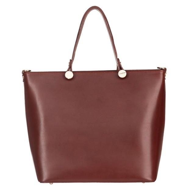 Włoska klasyczna torebka skórzana brązowa (4846)