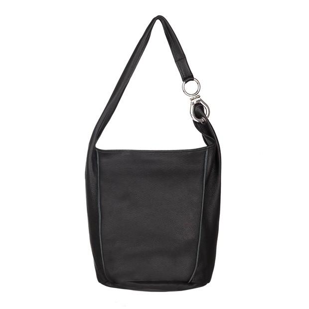 Włoska zamszowa torebka worek czarna (4848)
