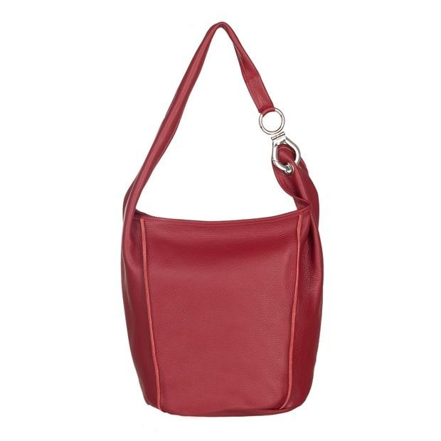 Włoska zamszowa torebka worek czerwona (4849)