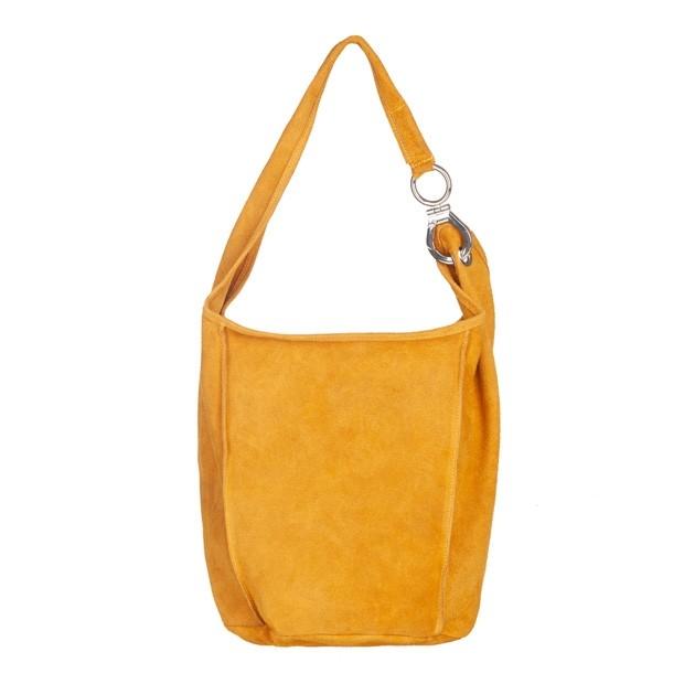 Włoska zamszowa torebka worek żółta (4850)