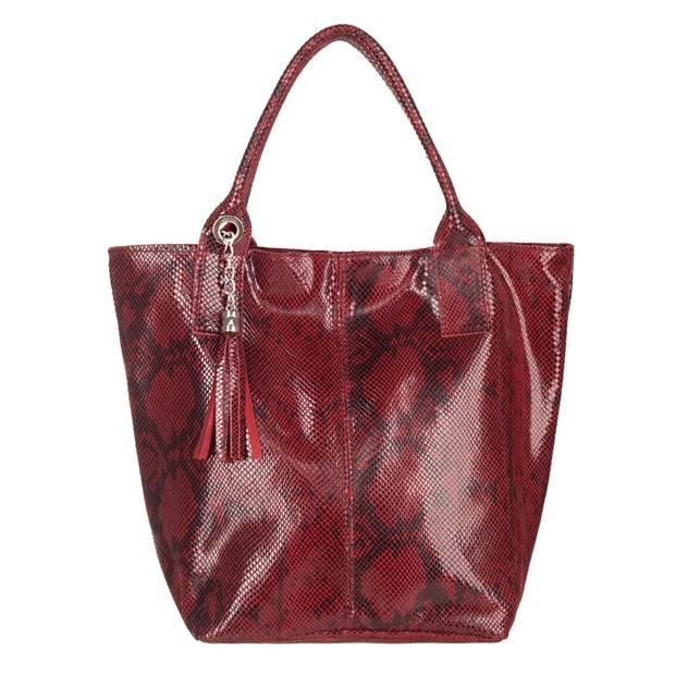 Włoska torebka worek A4 skóra wężowa bordowa (4852)
