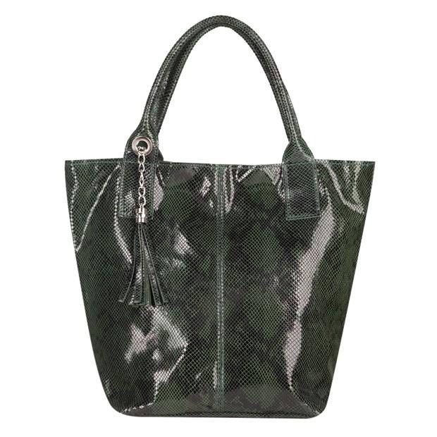Włoska torebka worek A4 skóra wężowa zielona (4854)