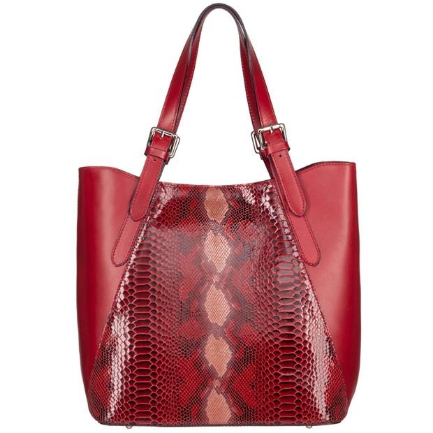 Vera Pelle - Włoska duża klasyczna torebka skórzana licowa + skóra wężowa A4 czerwona (4903)