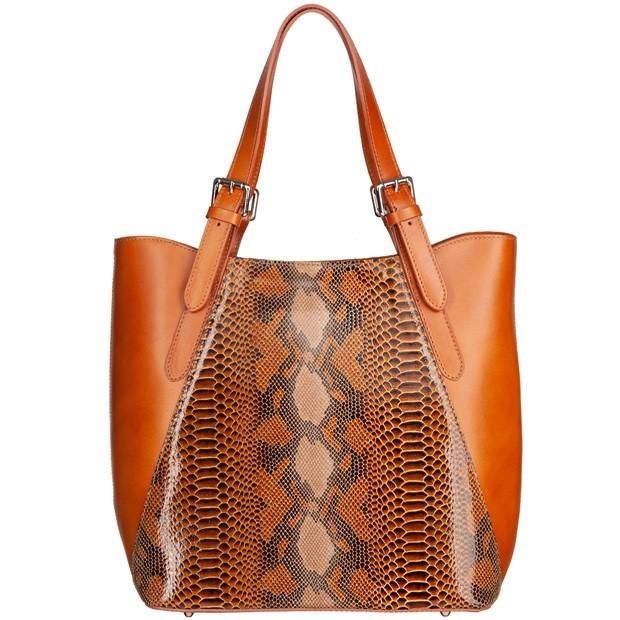 Vera Pelle - Włoska duża klasyczna torebka skórzana licowa + skóra wężowa A4 camel (4904)