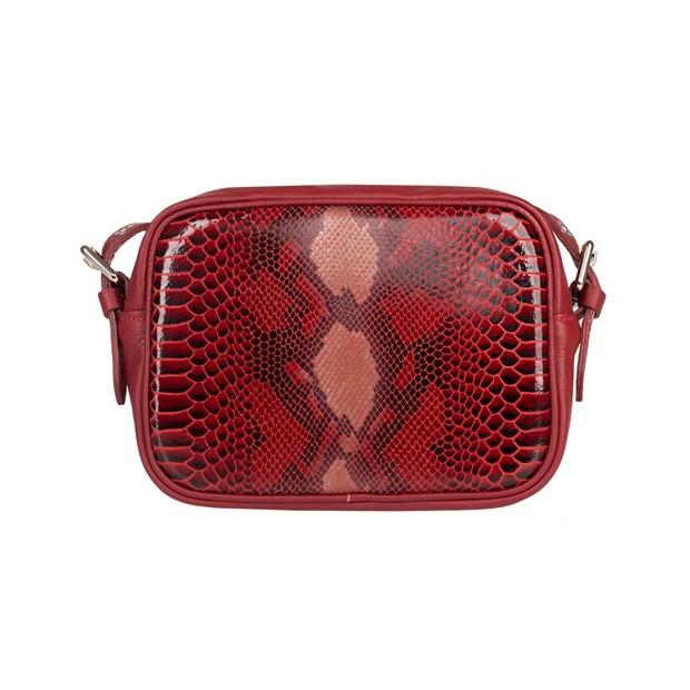 Włoska torebka listonoszka skóra dolaro + skóra wężowa czerwona (4911)