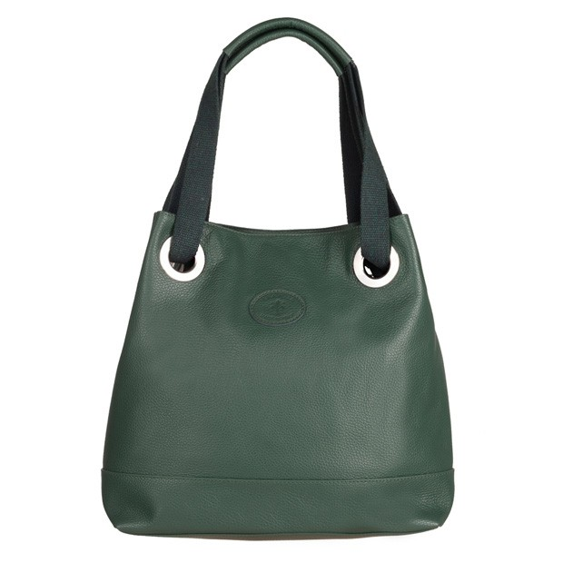 Vera Pelle - Włoska torebka worek skóra dolaro zielona (4915)