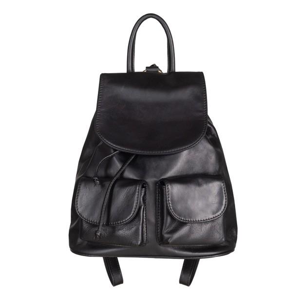Włoski plecak skórzany z kieszeniami skóra czarny (4920)
