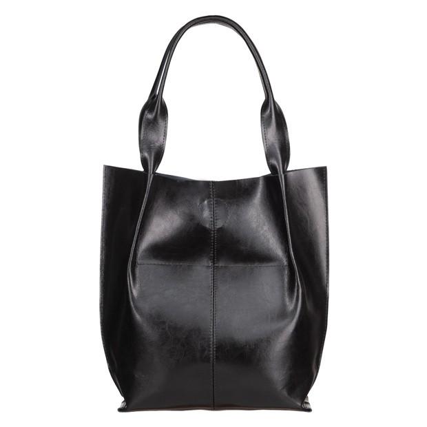 Skórzana torebka worek A4 magnes czarna (4922)