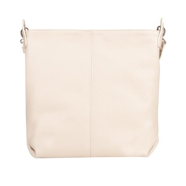 Włoska duża torebka listonoszka skóra dolaro kremowa/ecru (4932)