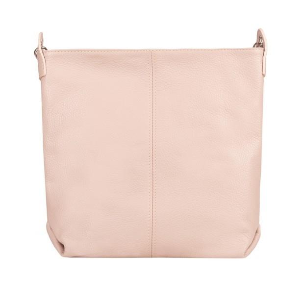 Włoska duża torebka listonoszka skóra dolaro różowa (TS-4774-10)