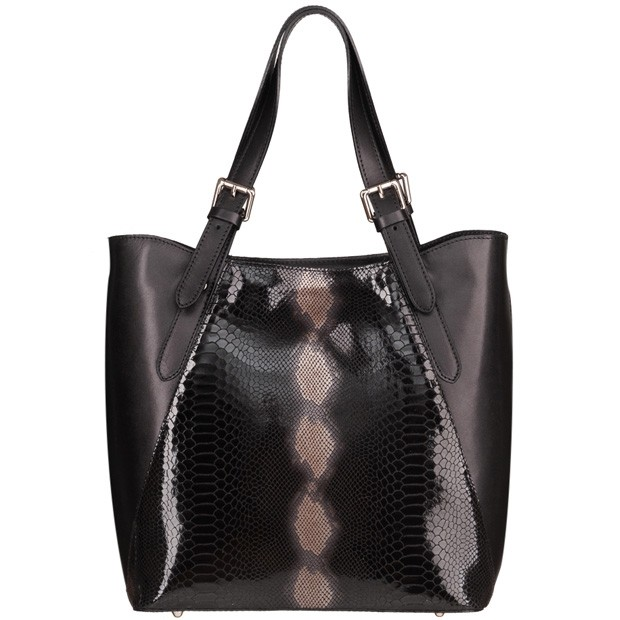 Vera Pelle - Włoska duża klasyczna torebka skórzana licowa + skóra wężowa A4 czarna (4936)