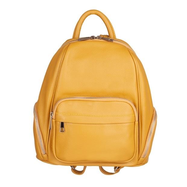 Włoski plecak z kieszeniami skóra dolaro żółty (4942)