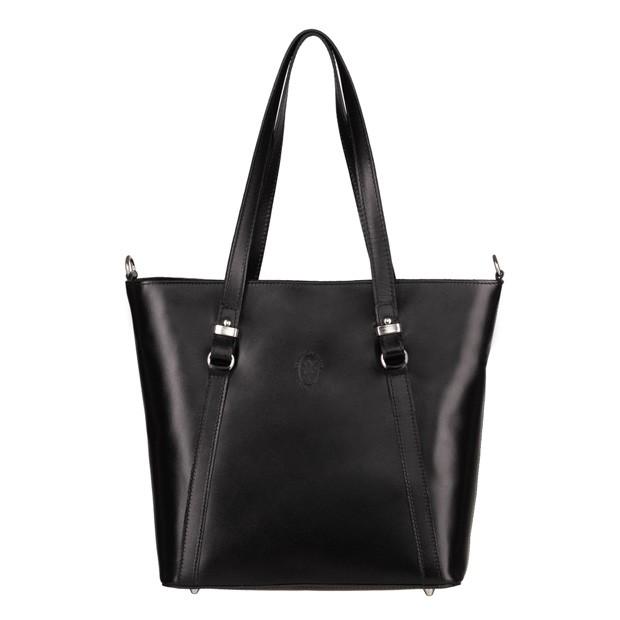 Włoska klasyczna torebka skórzana czarna (4946)