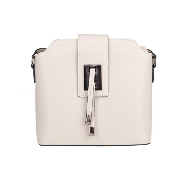 Włoska skórzana torebka listonoszka kremowa/ecru (4950)