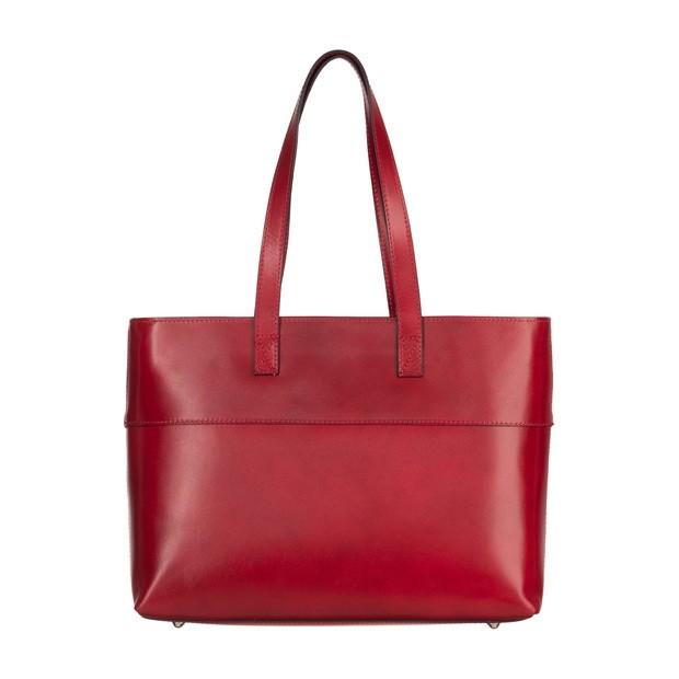 Włoska skórzana klasyczna torebka czerwona (4958)