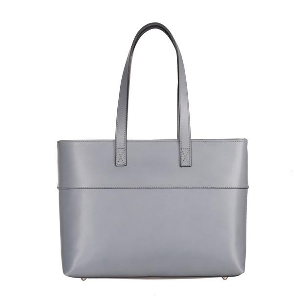 Włoska skórzana klasyczna torebka szara (4960)