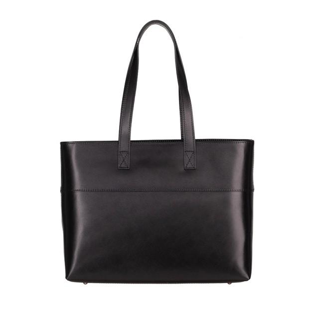 Włoska skórzana klasyczna torebka czarna (4961)