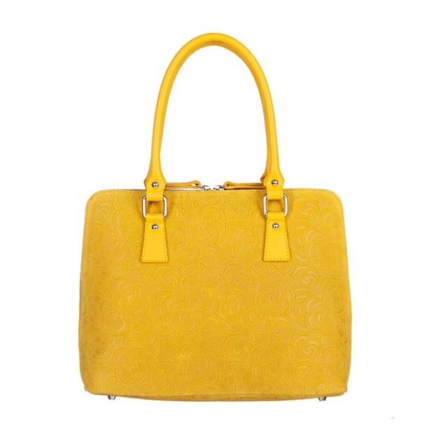 Włoska klasyczna torebka skórzana tłoczone kwiaty żółta (4965)