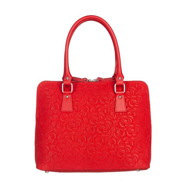 Włoska klasyczna torebka skórzana tłoczone kwiaty czerwona (4966)