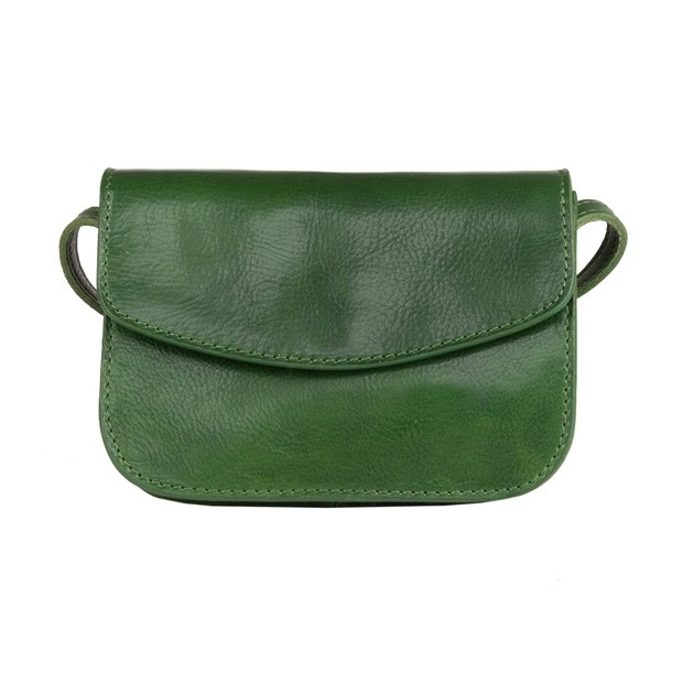 Włoska mała trzykomorowa skórzana torebka listonoszka zielona (4973)