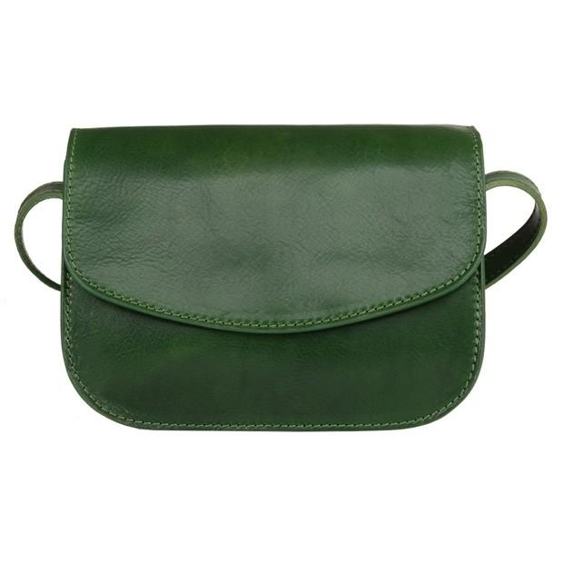 Włoska trzykomorowa skórzana torebka listonoszka zielona (4974)