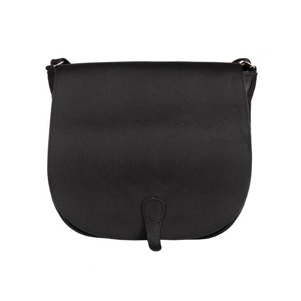 Duża skórzana torebka listonoszka z klapką czarna (5001)