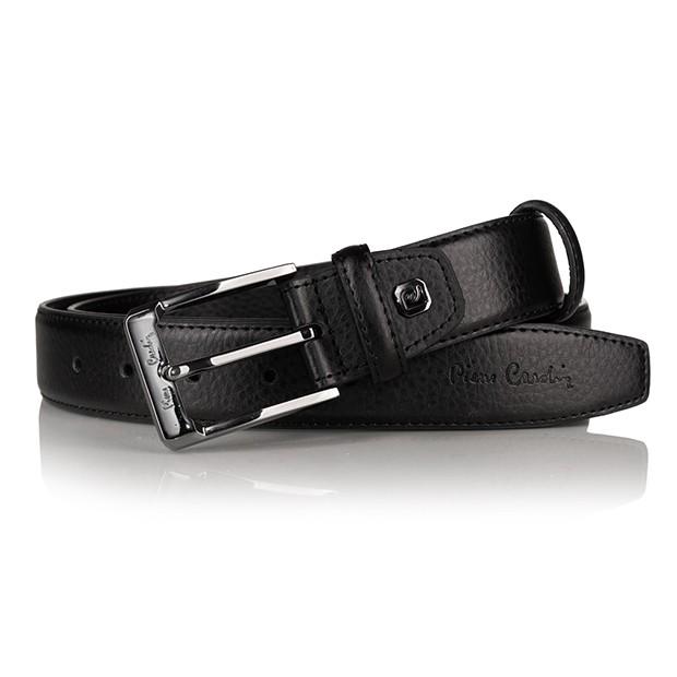 Pierre Cardin - elegancki pasek skórzany czarny (5011 ROB01)