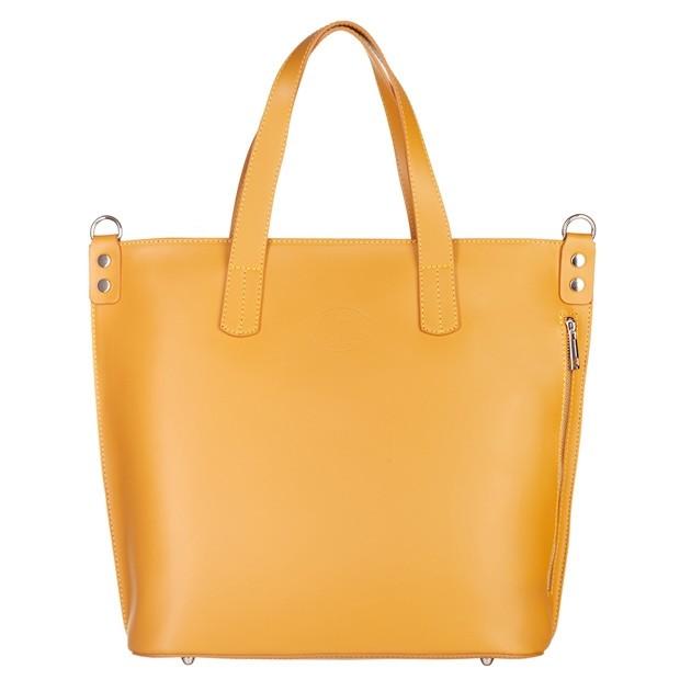 Vera Pelle - Włoska duża klasyczna torebka A4 matowa skóra żółta (5015)