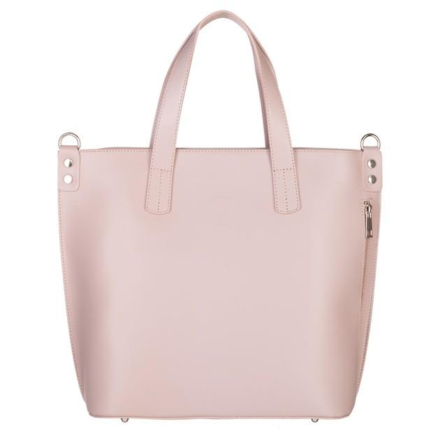 Vera Pelle - Włoska duża klasyczna torebka A4 matowa skóra różowa (5017)