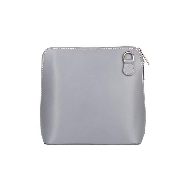 Vera Pelle - włoska mała torebka skórzana listonoszka szara (5030)