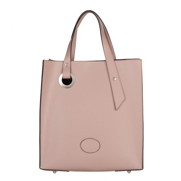 Vera Pelle - włoska torebka z wkładem matowa skóra brudny róż (5031)