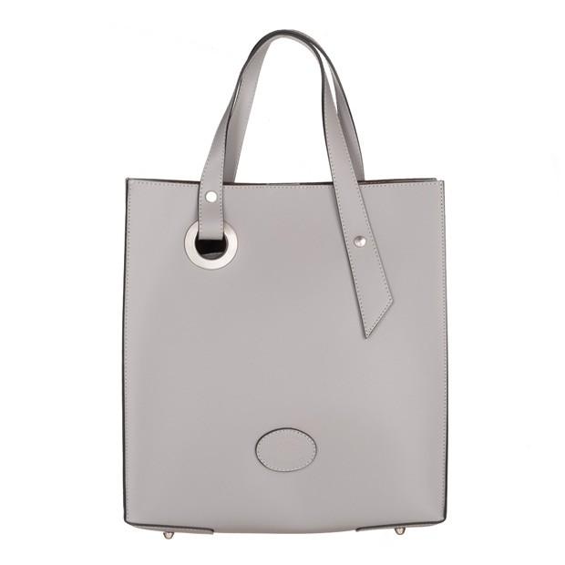 Vera Pelle - włoska torebka z wkładem matowa skóra szara (5032)