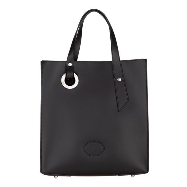 Vera Pelle - włoska torebka z wkładem matowa skóra czarna (5033)
