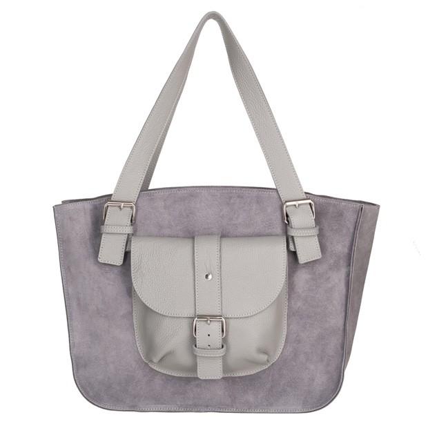 Włoska duża torebka shopper bag A4 zamsz+skóra szara (5034)