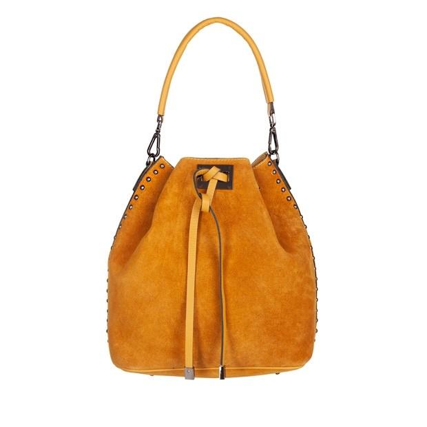 Włoska torebka worek zamsz dżety żółta (5035)