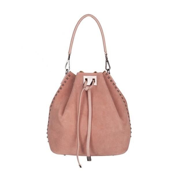 Włoska torebka mały worek zamsz dżety różowa (5037)