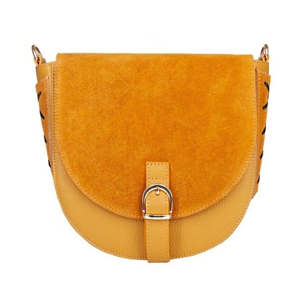 Włoska torebka listonoszka skóra dolaro+zamsz żółta (5045)