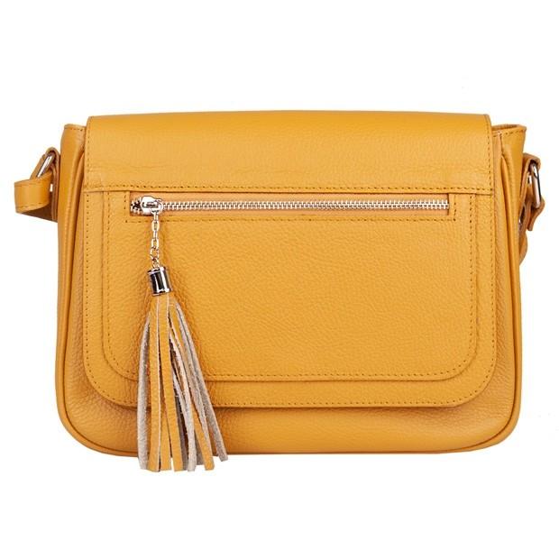 Włoska duża skórzana torebka listonoszka z klapką i frędzlami żółta (5053)
