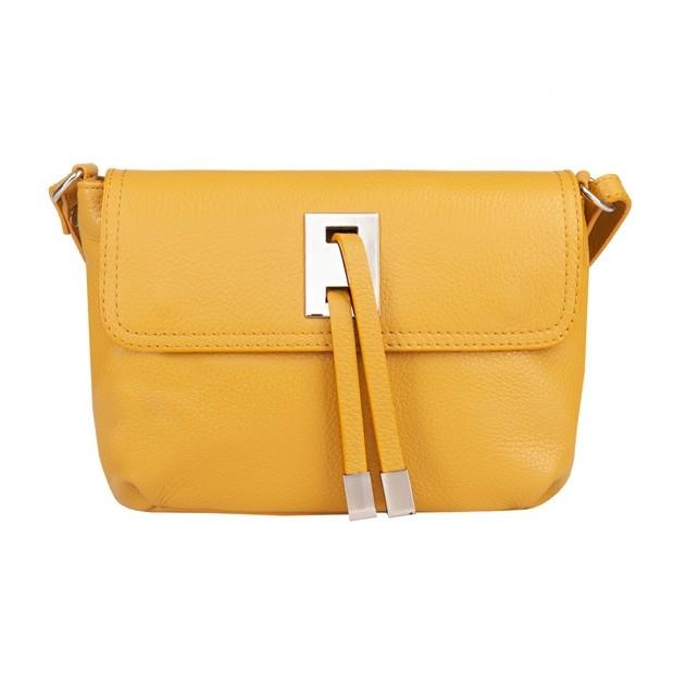 Włoska torebka listonoszka skóra dolaro żółta (5058)