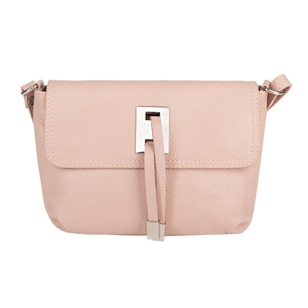 Włoska torebka listonoszka skóra dolaro różowa (5060)