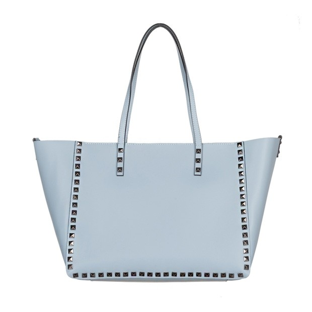 Włoska klasyczna torebka z dżetami matowa skóra błękitna (5072)