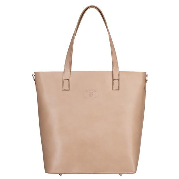 Włoska duża torebka shopper bag A4 skóra beżowa (5087)