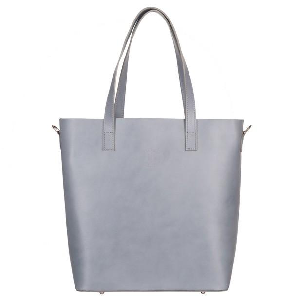 Włoska duża torebka shopper bag A4 skóra szara (5088)