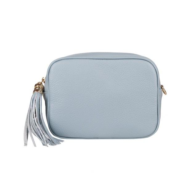 Włoska mała skórzana torebka listonoszka z frędzlami błękitna (5092)