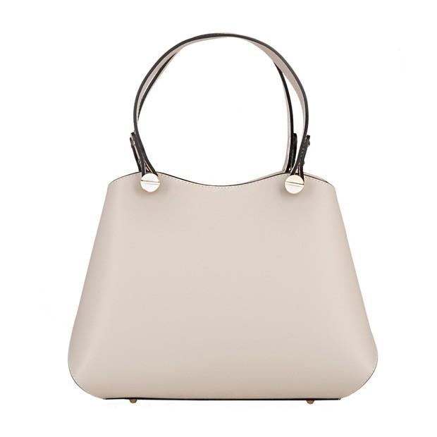 Vera Pelle - Włoska elegancka torebka kuferek matowa skóra kremowa/ecru (5096)