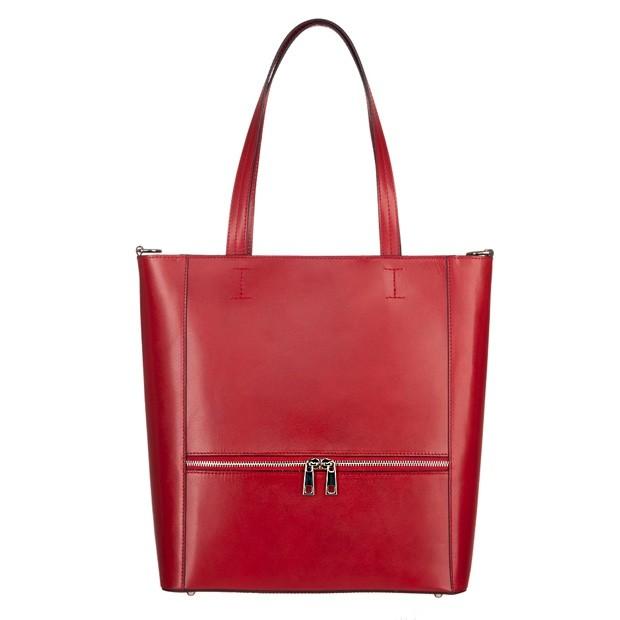 Włoska klasyczna skórzana torebka z zamkami czerwona (5098)