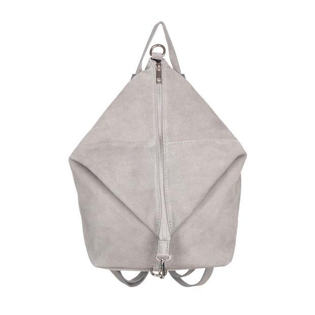 Włoski plecak zamsz naturalny szara (5101)