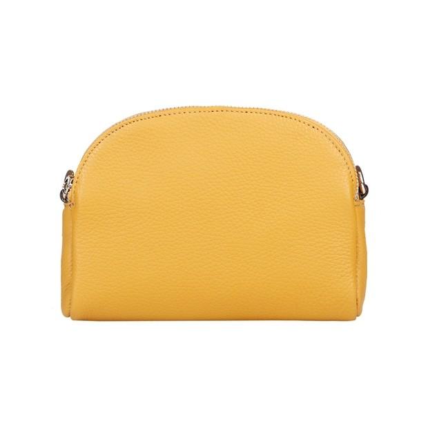Włoska torebka listonoszka dwukomorowa skóra dolaro żółta (5109)