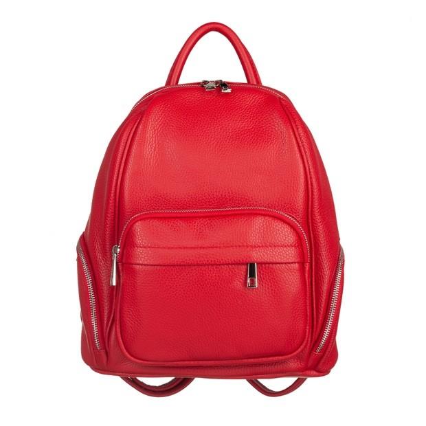 Włoski plecak z kieszeniami skóra dolaro czerwony (5113)
